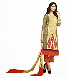 Yellow Color Cotton Unstitched Salwar Kameez Embroidered Dress Material