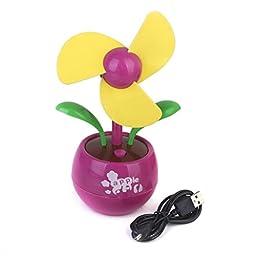 Mini Flower USB Fan Desktop Fan Gift - Pink and Green