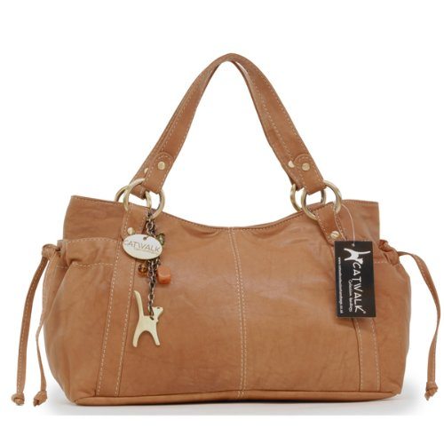 Catwalk Collection Mia Tote Bag - Tan Leather