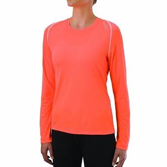 Saucony Women's Flora Long Sleeve  Top, Vizipro Orange, Large