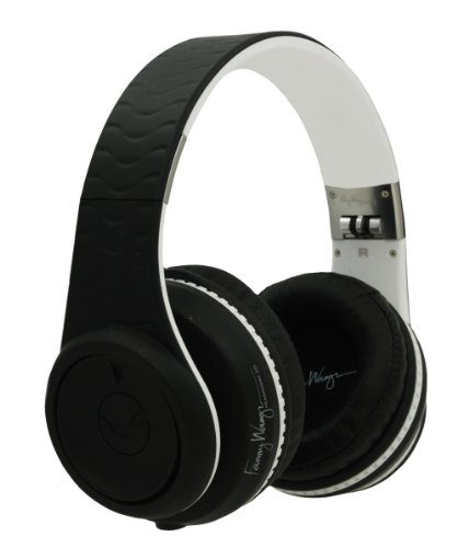 Fanny Wang Headphones Co. Over Ear Dj Headphones With Selectable Bass Boost & Apple Integrated Remote And Mic, Black-White, (Fw-2003-Blk-Whi)