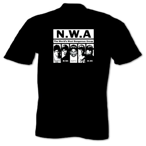 Bang Tidy Clothing Men'S Mans Hip Hop Music Nwa T-Shirt Featuring Dr Dre Easy E Ice Cube Yella And Mc Ren Large Black