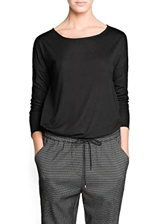 'Mango Women's Raw-Edge Lightweight T-Shirt, Black, Xxs