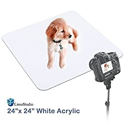 LimoStudio 24 Inch Acrylic White Reflective Display Table Background Board, Product Table Top Photography Shooting, AGG1824