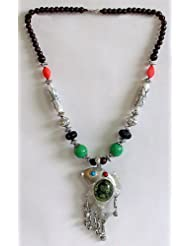 Tibetan Necklace With Fish Pendant - Beads And Metal
