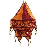 Rose Applique Cotton Kalasa Lantern (20 Cm X 15 Cm X 60 Cm, Brown & Orange)