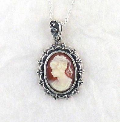 Picture Frame Coral Cameo Necklace