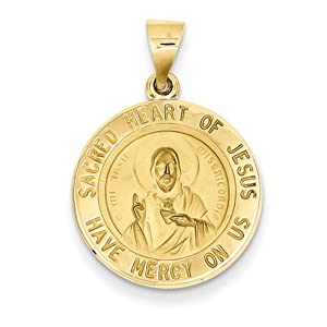 14kt Yellow Gold 11/16in Sacred Heart of Jesus Medal