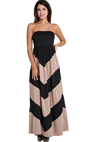 Pink Queen® Womens Chevron Striped Color Blocked Maxi Dress XX-Large Khaki