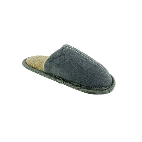 Boys Microsuede Scuff Slippers with Contrast Sherpa, Grey, Medium (Boys House Slippers compare prices)