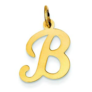 14k gold polished fancy initial letter b charm