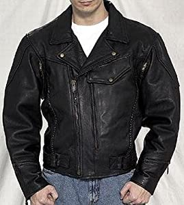 Amazon.com: Leather Motorcycle Jackets, Mens Braided Leather Biker