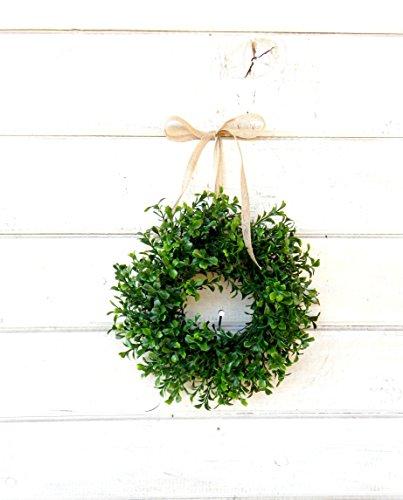Mini Window Wreath, MINI Boxwood Wreath-Country Cottage Wreath, Farmhouse Decor, SCENTED Wreath, Small Wreath, Rustic Home Decor, Holiday Home Decor