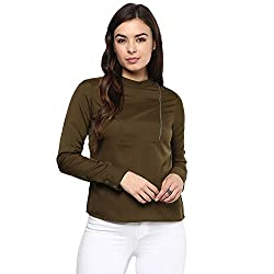 STYLEBAY Women Olive Green Crepe Top (CST009, Large)