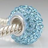 Aqua Blue - Swarovski Crystal Discoball - Sterling Silver Core Charm Bead - fits Pandora, Chamilia etc style Bracelets - SpangleBead