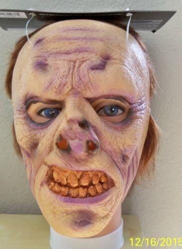 ADULT FLESH EATING UNDEAD ZOMBIE LATEX FACE MASK COSTUME MR131309 (Horror Flesh Grey Makeup)
