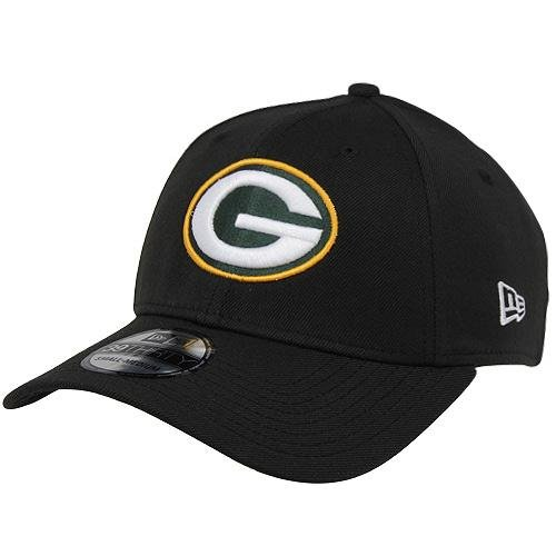 New Era Green Bay Packers 39THIRTY NFL Stretch Fit Hat - Black by New Era