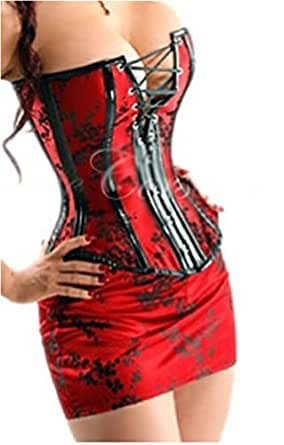 Red Satin Chinese Style Floral Bustier Corset Lingerie Costume