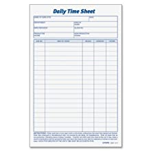 TOPS 30041 Daily Employee Time And Job Sheet, 6 X 9-1/2, 2 Pads/Pack, 100 Sheets Per Pad