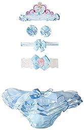 Disney Baby Cinderella Ruffle Diaper Cover Headband and Hair Set, Blue, Infant