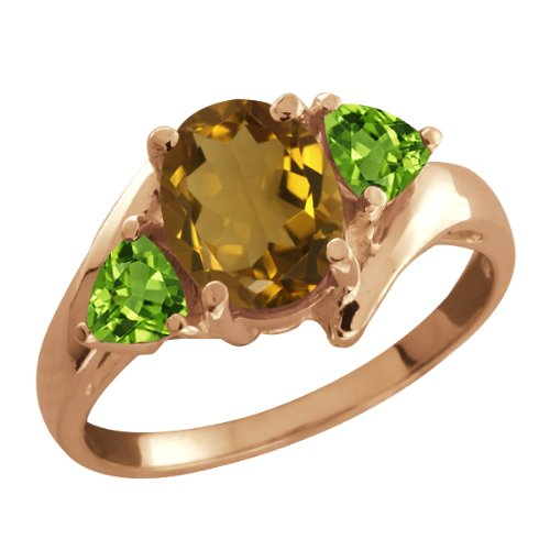 1.67 Ct Oval Whiskey Quartz and Green Peridot 14k Rose Gold Ring