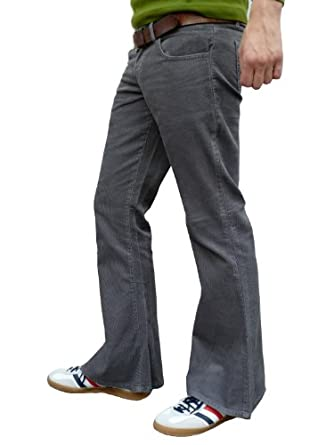 Mens bell bottom cord flares all sizes grey gray (38W 30L)