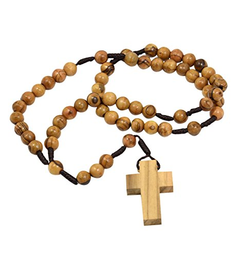 AUTHENTIC Olive Wood Catholic Rosary Beads Necklace from Bethlehem in Natural Cotton Pouch by MIZZE (Wood Rosary Beads compare prices)
