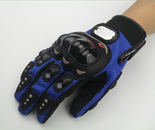 FHSom Men's Motorcycle Blue Bicycle Winter Protect Warm Powersports Full Finger Racing Tactical Gloves