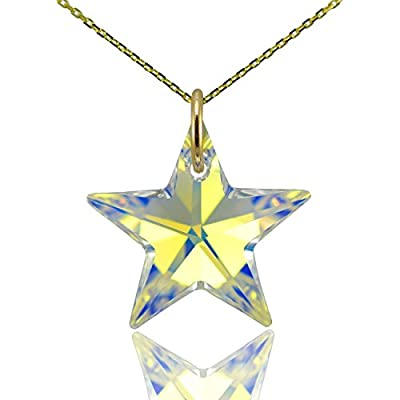 Solid 9ct Gold Star Pendant & Necklace Chain with Swarovski Crystal - Canary Diamond