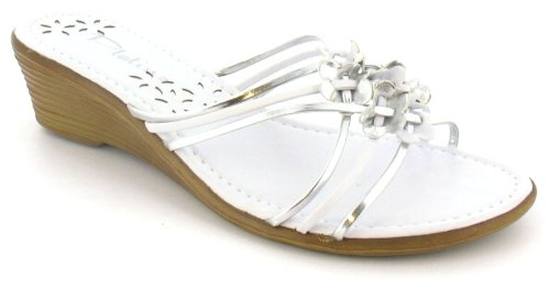 Womens/Ladies White Mule Summer Sandals With