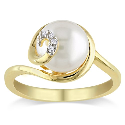 Yellow Gold Plated Sterling Silver 9.0-9.5 mm Freshwater Cultured Pearl and Diamond Ring (.02 Cttw, G-H Color, I2-I3 Clarity), Size 6
