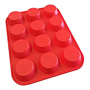 Craviy 12 Muffin Pan - Non Stick, High Quality Silicone Pan For Cupcake Baking, 12 Cup