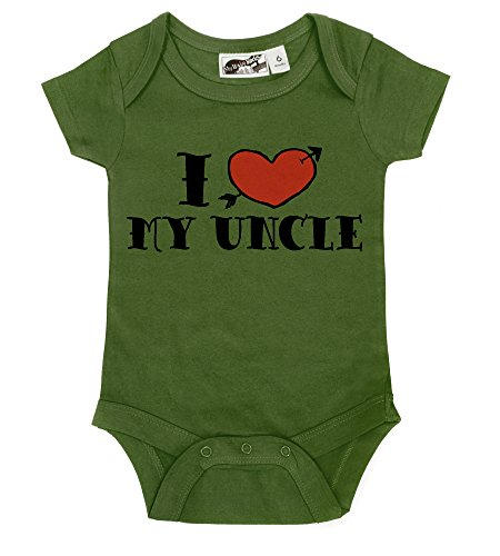 I <3 My Uncle Tattoo Olive & Red One Piece (6-12 Months) front-847616