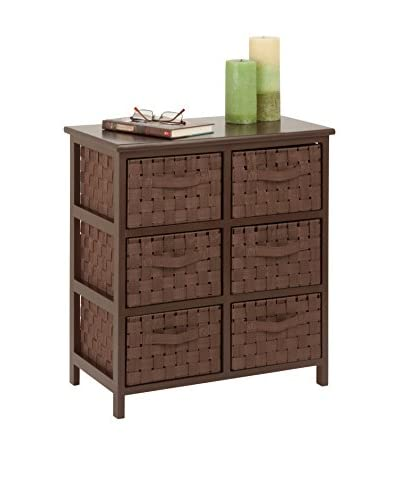 Honey-Can-Do Woven 6-Drawer Chest, Java Brown