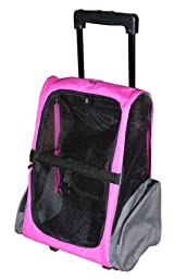 HDP Roll Along Carrier & Backpack Luggage ON WHEELS PINK