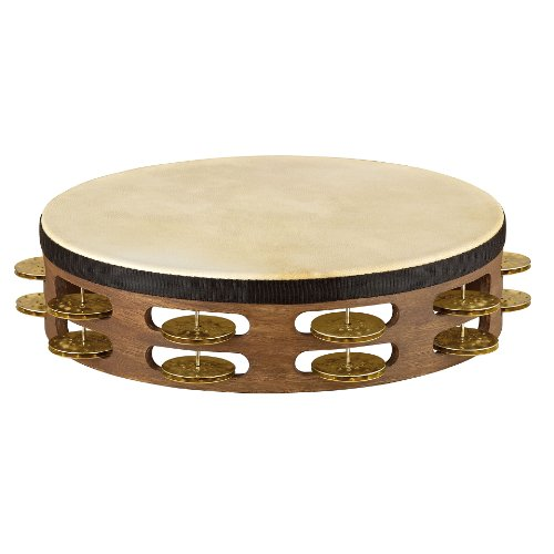 Meinl Percussion TAH2V-WB 10-Inch Vintage Wood Tambourine with Goat Skin Head and Hammered Brass Jingles, 2 Row