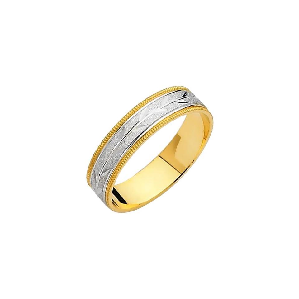14K Yellow and White Two Tone Gold Satin Milgrain Engraved Designer Wedding Band Ring for Men & Women   Size 8