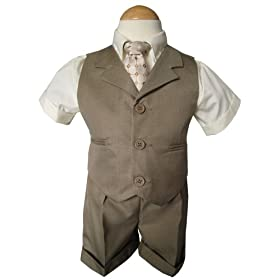 New Baby and Toddler Boy Summer Suit Natural/beige Vest Short Set