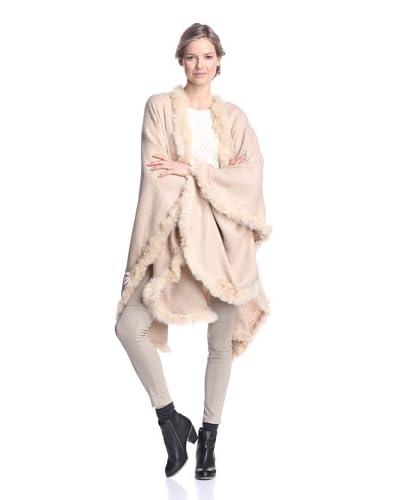 Alicia Adams Alpaca Women's Cape with Fur Trim, Beige, One Size
