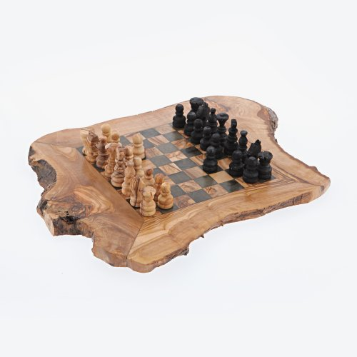 Olive Wood Chess Set Handmade Rustic - Small
