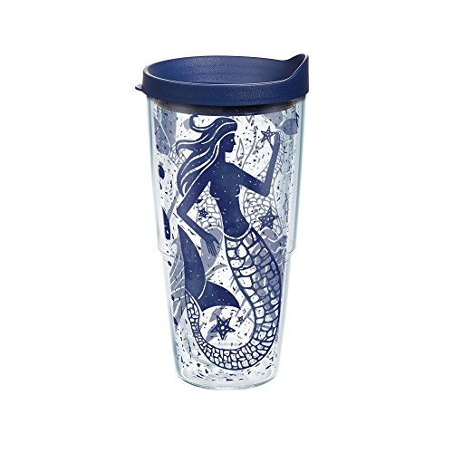 Tervis Mermaid Collage Wrap Tumbler with Navy Lid, 24 oz, Clear (Tervis Lids Navy compare prices)
