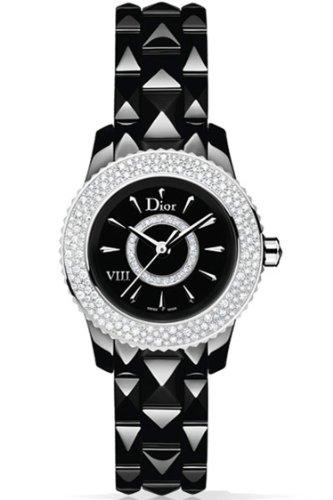 New Ladies Christian Dior Huit VIII 8 Full Diamond Bezel 28mm Watch CD1221E5C001