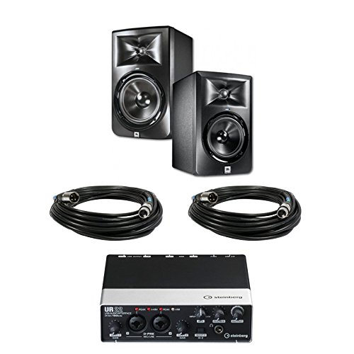 Jbl Lsr308 8-Inch Two-Way Powered Studio Monitors (Pair) W/ Steinberg Ur22 Audio Interface + (2) Xlr Cables