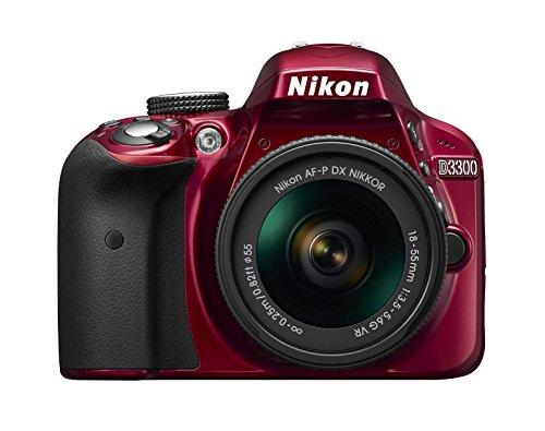 "Nikon D3300 Fotocamera Reflex Digitale con Obbietivo Nikkor AF-P 18/55VR, 24,2 Megapixel, LCD 3"", SD 8GB 300x Premium Lexar, Rosso [Nital Card: 4 Anni di Garanzia]"