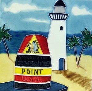 "Key West Southernmost Point Florida FL Buoy Lighthouse Ceramic Wall Art Tile or Trivet 8""x8"""