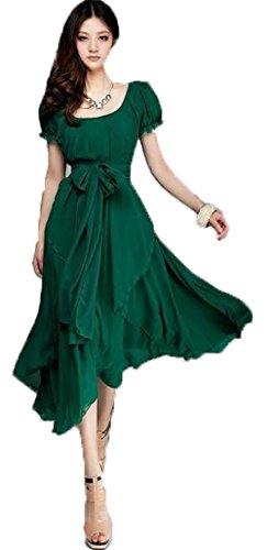 Hot Women's Maxi Chic Chiffon Vintage Long Ball Party Irregular Evening Dress (S=US 1-4, green)