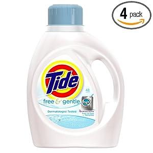 汰渍Tide Free and Gentl高效洗衣液4瓶装 (Packaging May Vary)