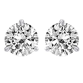 1 1/4 Carat GIA Certified 14K White Gold Solitaire Diamond Stud Earrings Round Brilliant Shape 3 Prong Martini/Cocktail Style Push Back (E Color, I1 Clarity, 1.2 ctw)