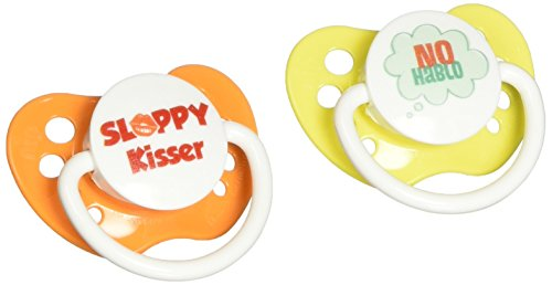 Ulubulu Pacifiers for Unisex, No Hablo and Sloppy Kisser, 0-6 Months