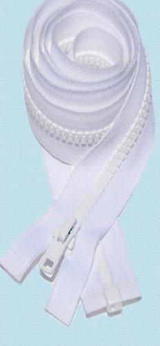 "Zipperstop Wholesale YKK® 18"" Vislon Zipper ~ YKK #5 Molded Plastic ~ Separating - White (3 Zippers / Pack)"